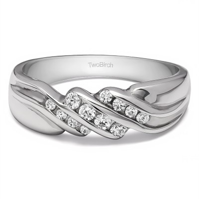 0.32 Ct. Triple Row Channel Set Men's Wedding Ring with Twisted Shank