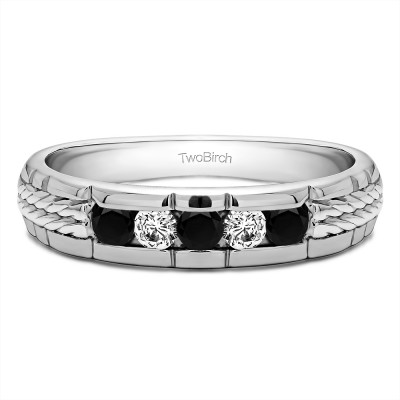 0.36 Ct. Black and White Five Stone Channel Set Men's Wedding Ring with Braided Shank