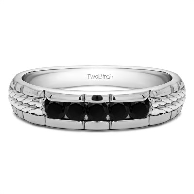 0.36 Ct. Black Five Stone Channel Set Men's Wedding Ring with Braided Shank