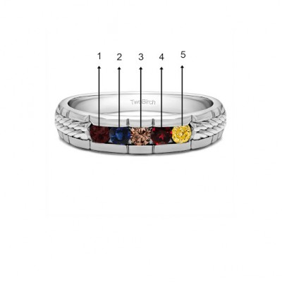 0.36 Ct. Five Birthstone Channel Set Men's Wedding Ring with Braided Shank in White Gold