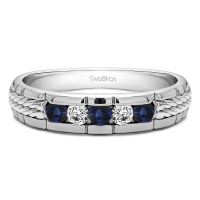 0.36 Ct. Sapphire and Diamond Five Stone Channel Set Men's Wedding Ring with Braided Shank