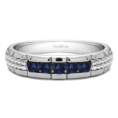 0.36 Ct. Sapphire Five Stone Channel Set Men's Wedding Ring with Braided Shank