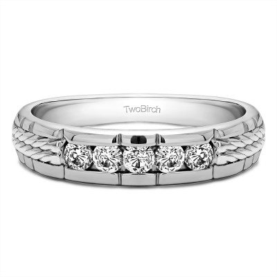 0.36 Ct. Five Stone Channel Set Men's Wedding Ring with Braided Shank
