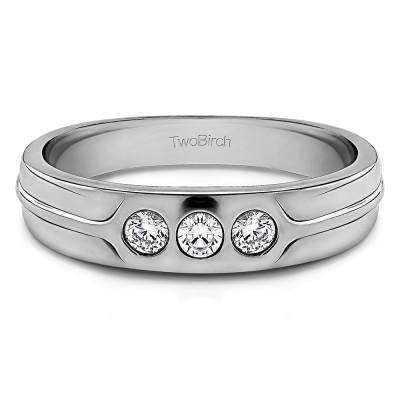 0.33 Ct. Three Stone Burnished Designer Shank Men's Wedding Ring