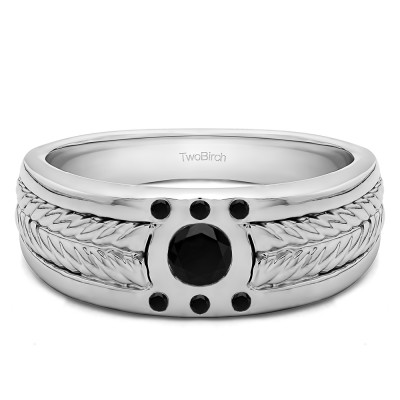 0.31 Ct. Black Stone Engraved Shank Burnished Solitaire Men's Rings
