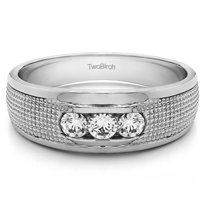 0.5 Ct. Three Stone Channel Set Engraved Shank Men's Ring