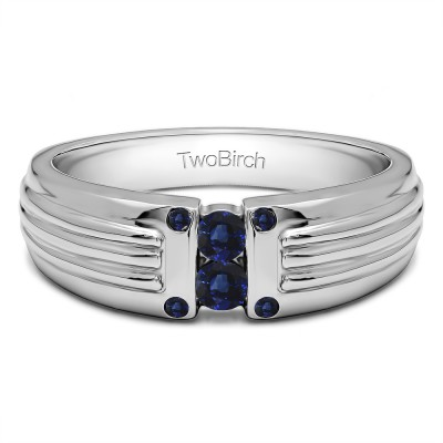 0.28 Ct. Sapphire Two Stone Tension Set Ribbed Shank Men's Wedding Ring