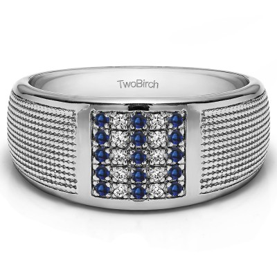 0.25 Ct. Sapphire and Diamond Round Cluster Top Ribbed Shank Men's Wedding Ring