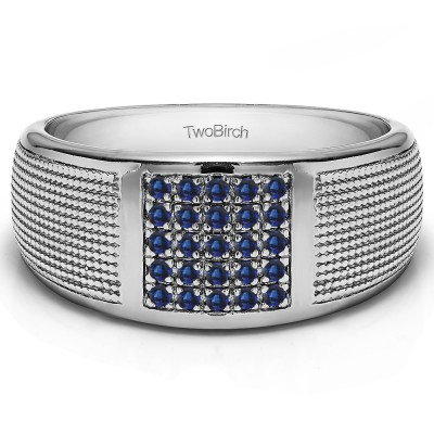 0.25 Ct. Sapphire Round Cluster Top Ribbed Shank Men's Wedding Ring