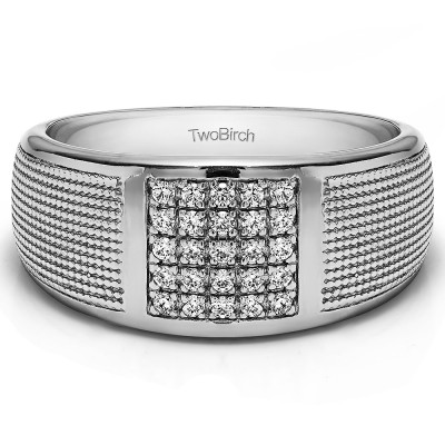0.25 Ct. Round Cluster Top Ribbed Shank Men's Wedding Ring