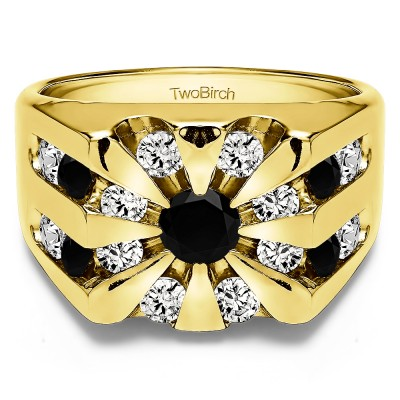 0.5 Ct. Black and White Stone Round Channel Set Sun Burst Style Men's Ring in Yellow Gold