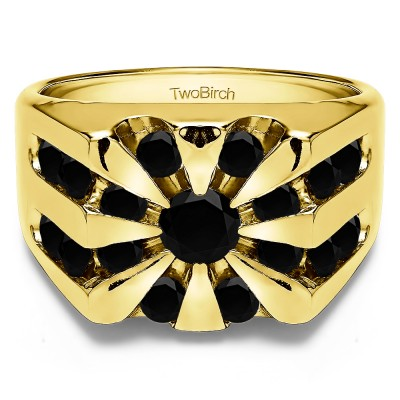 0.5 Ct. Black Stone Round Channel Set Sun Burst Style Men's Ring in Yellow Gold