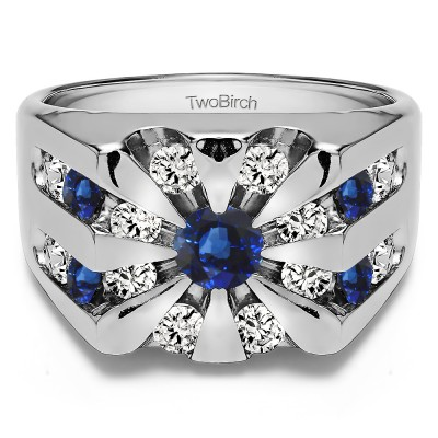 0.5 Ct. Sapphire and Diamond Round Channel Set Sun Burst Style Men's Ring
