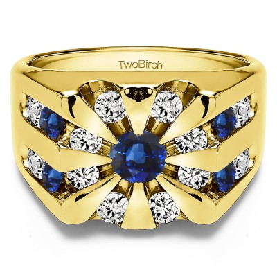 1 Ct. Sapphire and Diamond Round Channel Set Sun Burst Style Men's Ring in Yellow Gold