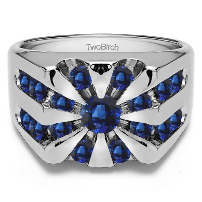 1 Ct. Sapphire Round Channel Set Sun Burst Style Men's Ring