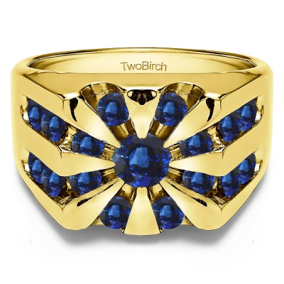 1 Ct. Sapphire Round Channel Set Sun Burst Style Men's Ring in Yellow Gold
