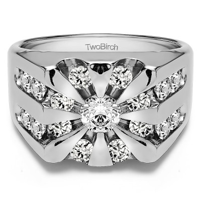 1 Ct. Round Channel Set Sun Burst Style Men's Ring