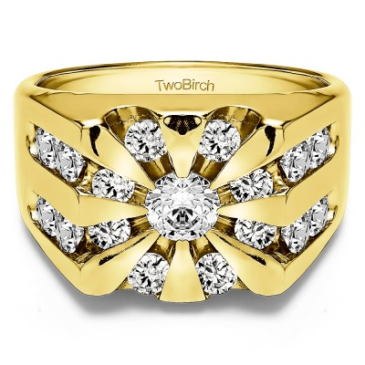 1 Ct. Round Channel Set Sun Burst Style Men's Ring in Yellow Gold