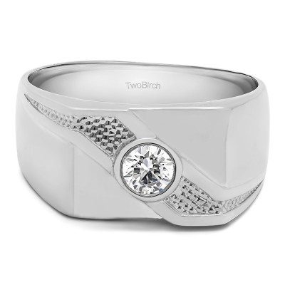0.3 Ct. Bezel Set Solitaire Men's Ring with Twisted Shank