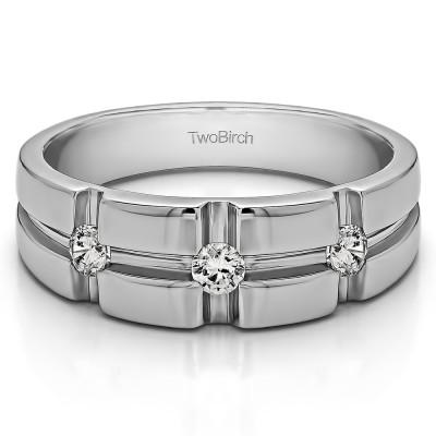 0.3 Ct. Three Stone Cross Designed Men's Wedding Ring