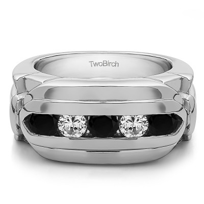 1.25 Ct. Black and White Five Stone Channel Set Flat Top Men's Wedding Ring