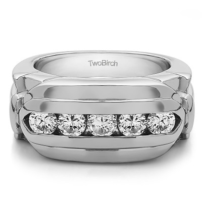 1.25 Ct. Five Stone Channel Set Flat Top Men's Wedding Ring