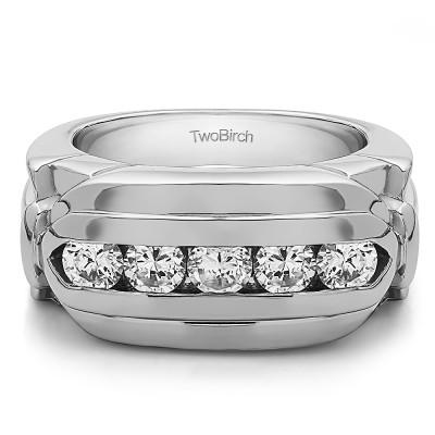 1.25 Ct. Five Stone Channel Set Flat Top Men's Wedding Ring