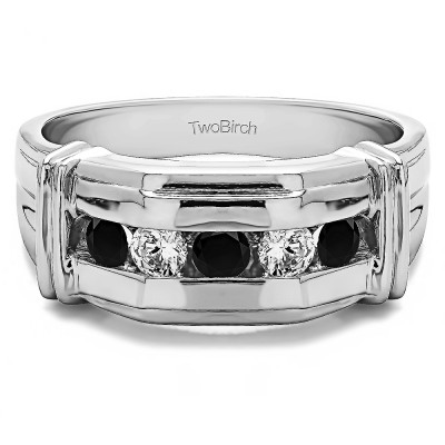 1 Ct. Black and White Five Stone Men's Ring with Ribbed Shank Design