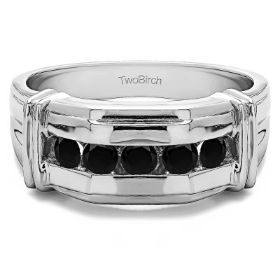 1 Ct. Black Five Stone Men's Ring with Ribbed Shank Design