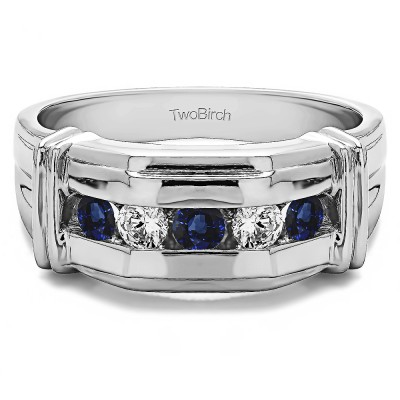 0.5 Ct. Sapphire and Diamond Five Stone Men's Ring with Ribbed Shank Design