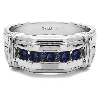 0.5 Ct. Sapphire Five Stone Men's Ring with Ribbed Shank Design