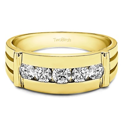 Two-Tone Sterling Silver Channel Set Men's Ring With Bars With Diamonds (0.17 Cts., G-H, - FINGER SIZE 10)