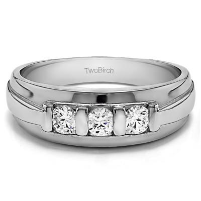 0.49 Ct. Three Stone Bar Set Men's Wedding Ring