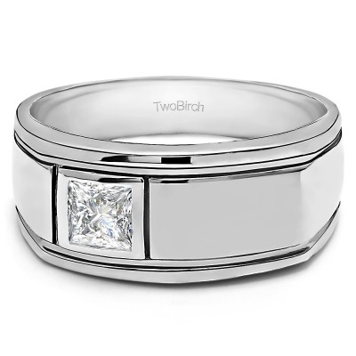 0.5 Ct. Princess Cut Men's Solitaire Ring with Burnished Set Stone