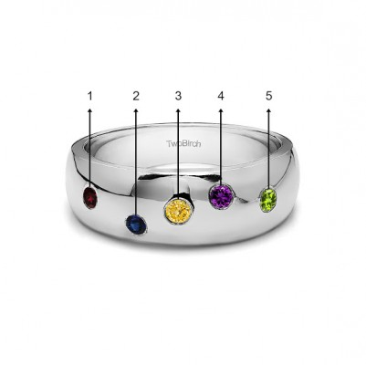 0.15 Ct. Scattered Birthstone Burnished Men's Wedding Ring in White Gold