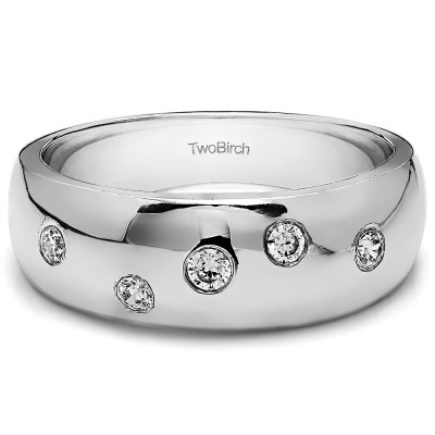0.15 Ct. Scattered Stone Burnished Men's Wedding Ring With Brilliant Moissanite Mounted in Sterling Silver (Size 10)