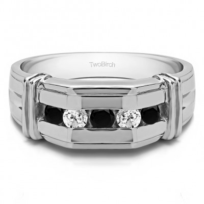 2 Ct. Black and White Stone Channel Set Men's Ring With Bars