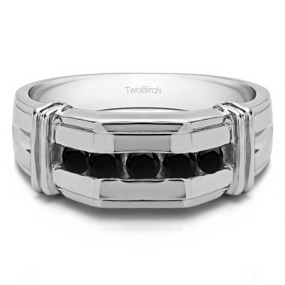 0.36 Ct. Black Stone Channel Set Men's Ring With Bars