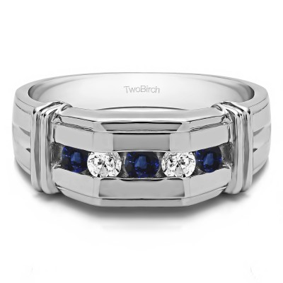 0.36 Ct. Sapphire and Diamond Channel Set Men's Ring With Bars