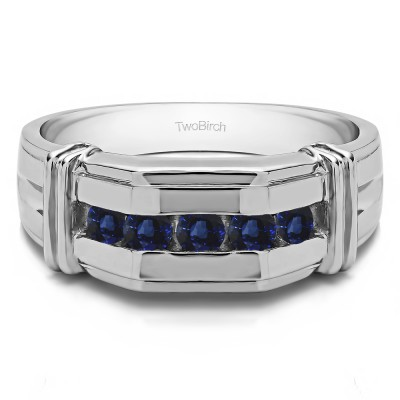 0.36 Ct. Sapphire Channel Set Men's Ring With Bars