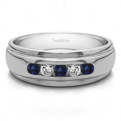 0.5 Ct. Sapphire and Diamond Five Stone Channel Set Men's Wedding Ring
