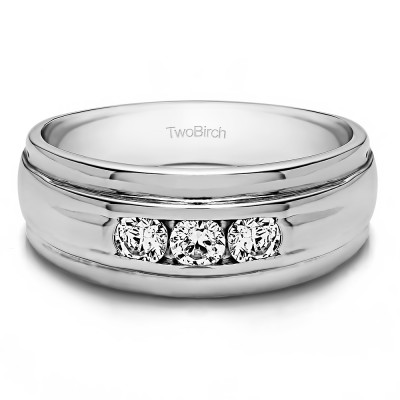 0.5 Ct. Three Stone Channel Set Men's Wedding Ring with Ribbed Shank