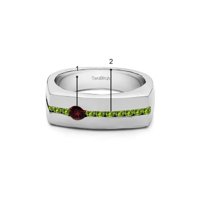 0.5 Ct. Birthstone Men's Unique Channel Set Wedding ring in White Gold