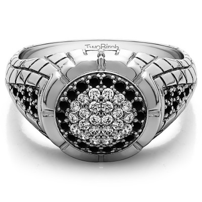 0.54 Ct. Black and White Stone Domed Men's Ring with Engraved Design
