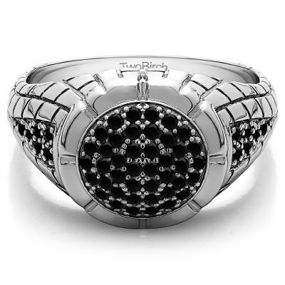0.54 Ct. Black Stone Domed Men's Ring with Engraved Design