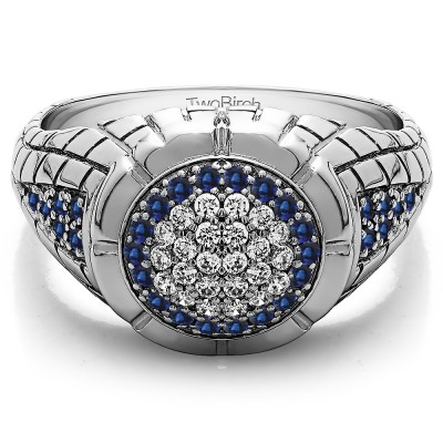 0.54 Ct. Sapphire and Diamond Domed Men's Ring with Engraved Design