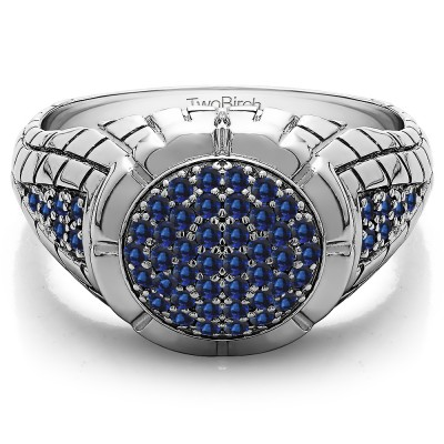 0.54 Ct. Sapphire Domed Men's Ring with Engraved Design