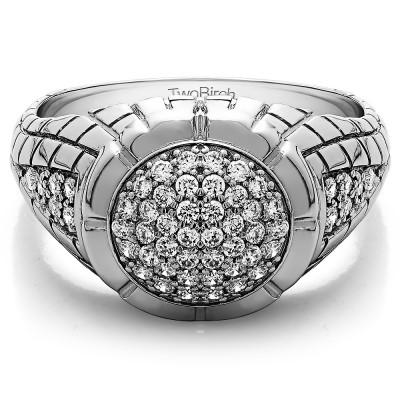 0.54 Ct. Domed Men's Ring with Engraved Design