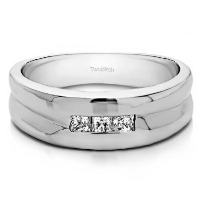 0.33 Ct. Three Stone Princess Cut Channel Set Men's Wedding Ring