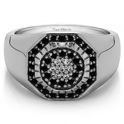 0.48 Ct. Black and White Stone Domed Men's Ring with Engraved Design